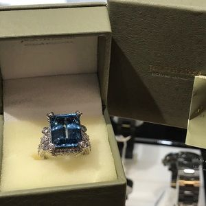 Authentic Judith Ripka Blue Topaz and CZ  Ring